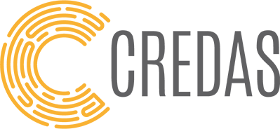 Orange circular Credas logo with grey text